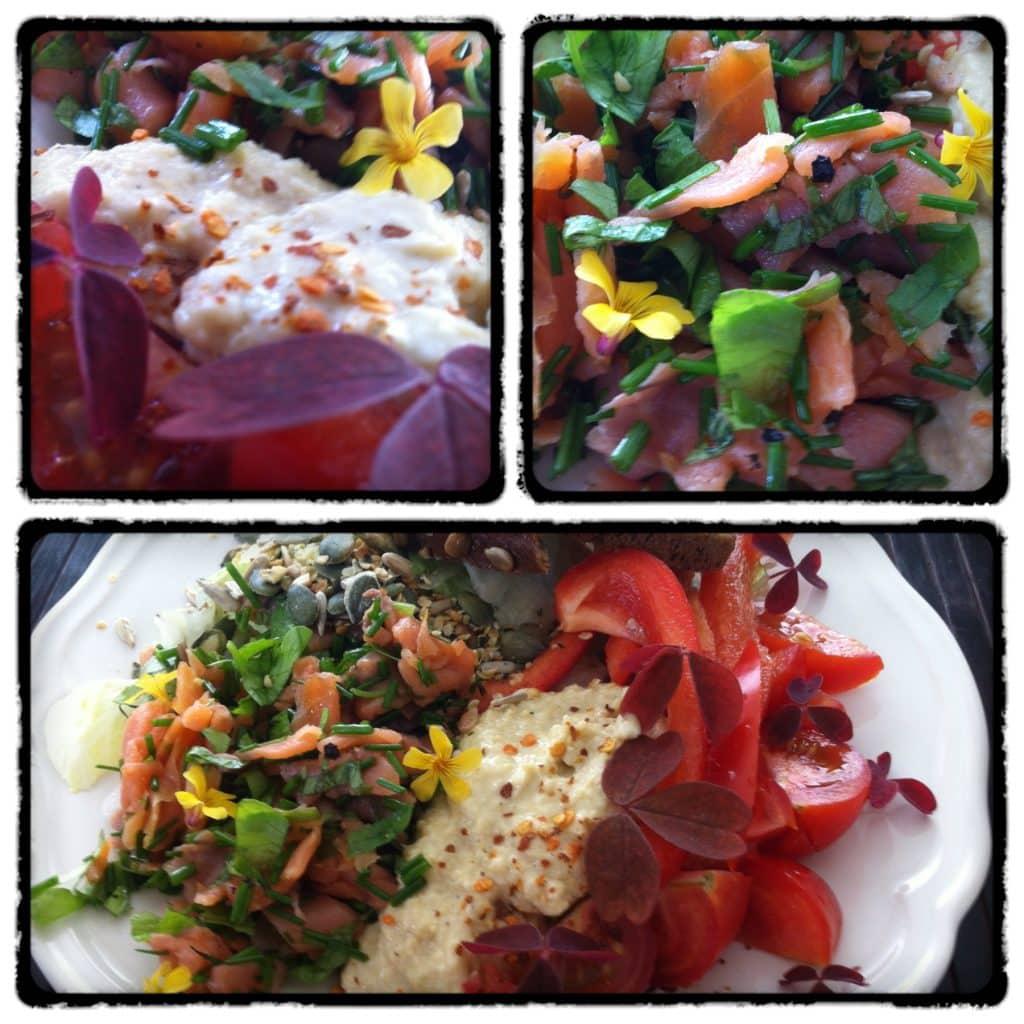 Salat m. røget laks, hummus og ristet rugbrød.